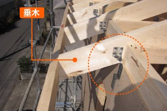垂木を母屋に固定している様子外部