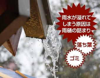雨水が溢れてしまう原因は落ち葉やゴミによる雨樋の詰まりなのです