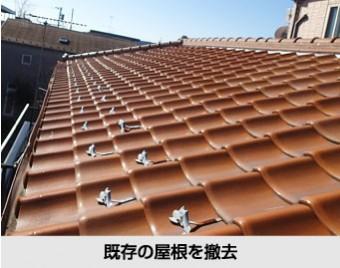 屋根葺き替え工事では既存の屋根を撤去します
