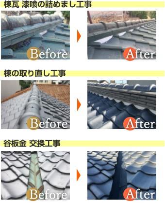 棟瓦 漆喰の詰めまし工事・棟の取り直し工事・谷板金交換工事のBefore&After