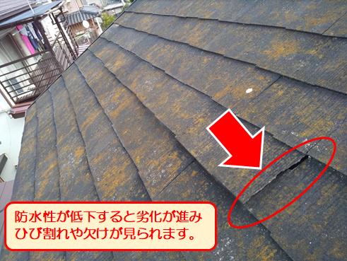 沼津屋根塗装スレート割れ