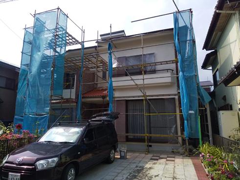 沼津市瓦屋根から雨漏りガルバリウムで葺き替え 雨戸と屋根部分塗装