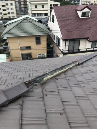 長泉町 棟瓦破損で下地劣化