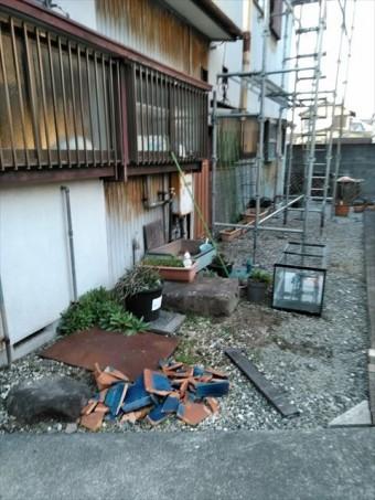 台風による瓦落下破損
