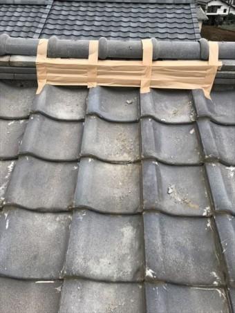 沼津市 台風被害による棟瓦の応急処置