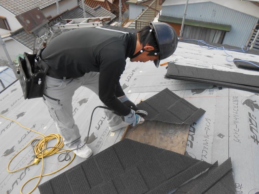 屋根材カット
