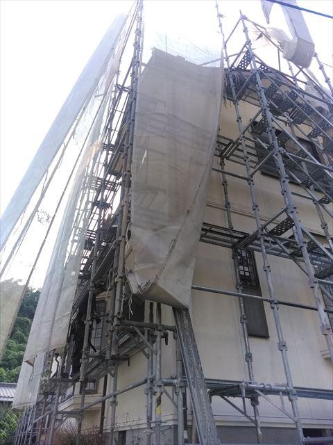 沼津市足場設置屋根工事