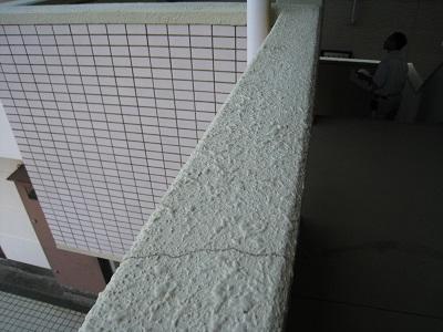 マンション壁にヒビ