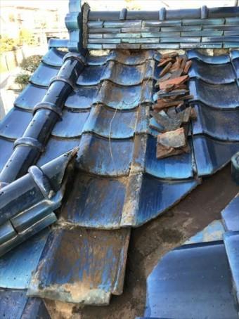 台風被害で瓦屋根破損