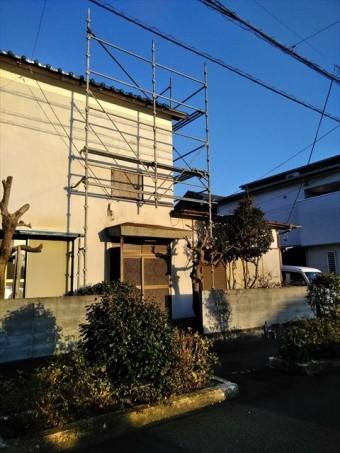 台風被害の屋根工事用足場