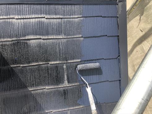 裾野屋根上塗り