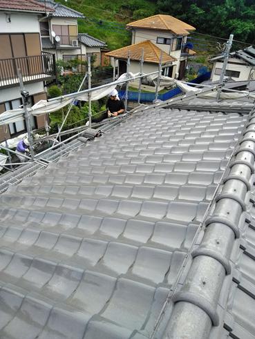 伊豆市瓦屋根の雨漏り!ガルバリウム鋼板 MFシルキーで葺き替え