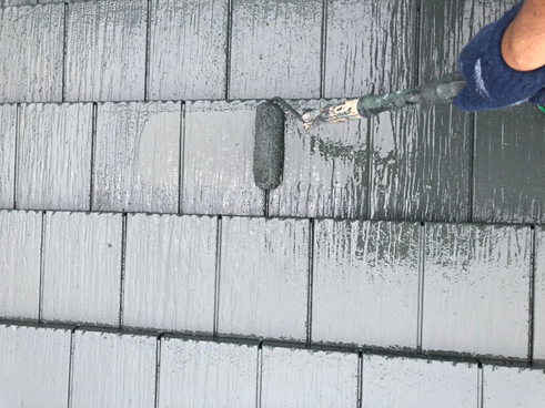 清水町セメント瓦上塗り