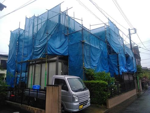 清水町セメント瓦塗装足場