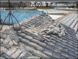 地震により瓦が落下、破損している状況